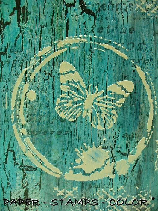 TCW boek blauwbruin crackle stencil vlinder (8)