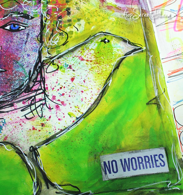 15 minutes of art journal play using stencils from The Crafter's Workshop • time-lapse video • AtopSerenityHill.com #artjournal #stencils #mixedmedia