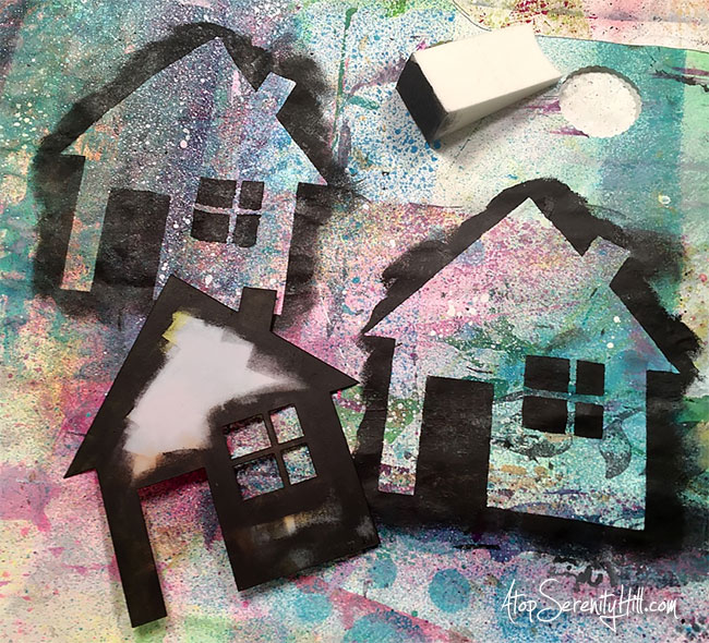 House gift tag using underpaper and a stencil from the Crafter's Workshop • AtopSerenityHill.com #gifttag #stencil #mixedmedia