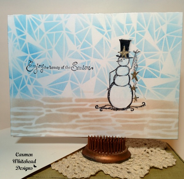 Snowman Card created by www.carmenwhitehead.com with The Crafter's Workshop stencils #tcwstencillove