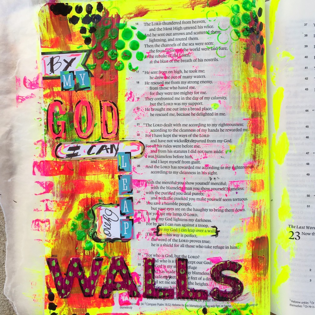 """""""I Can Leap over Walls"""" Bible Journaling by Keri Sallee"""