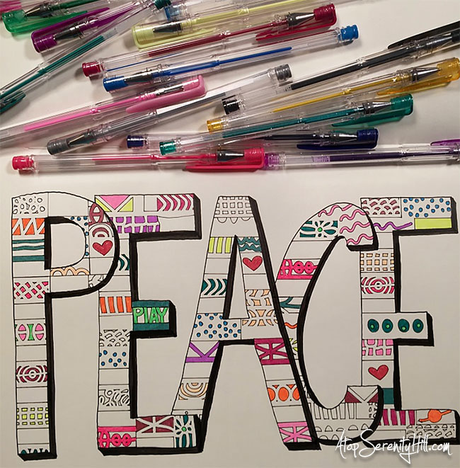 Doodling and coloring using gel pens and stencils from The Crafter's Workshop • AtopSerenityHill.com #stencil #doodling #gelpen