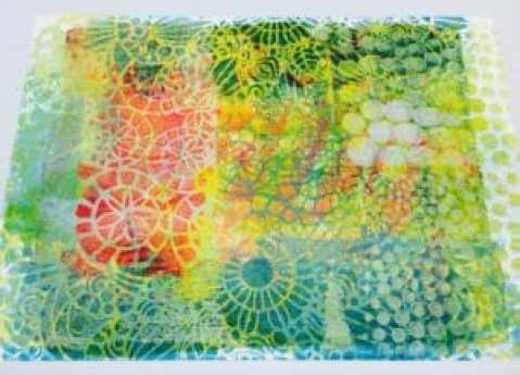 Gelli plate print as base for your stencil project.