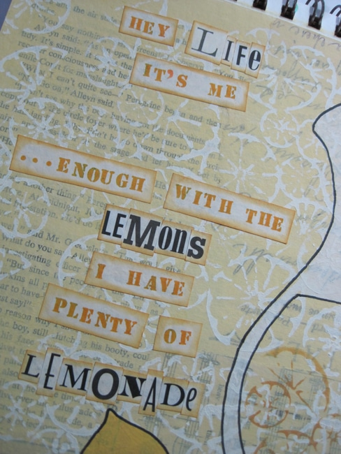 Lefko Use cut out text and rubber stamped words to add message to the art journal page