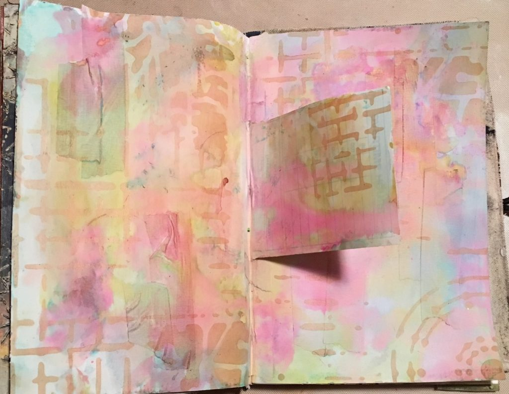Kim Schofield Art journal spread using Screen Print stencil, TCW525.