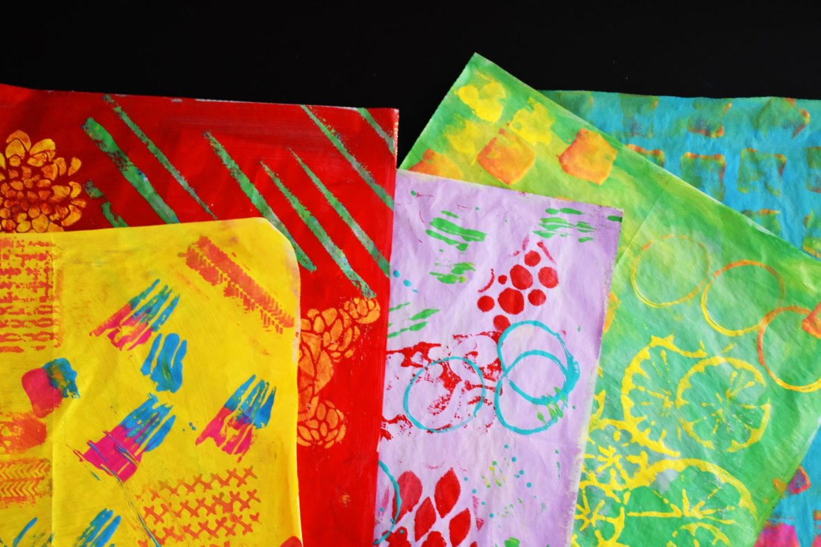 stenciled collage paper