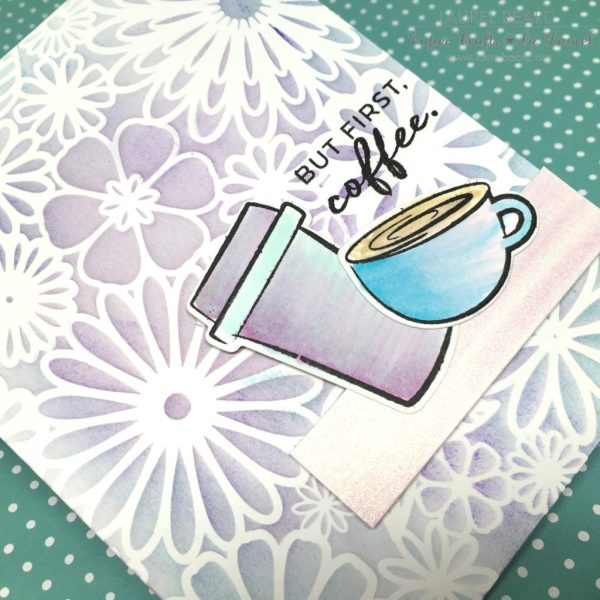 Two Toned Stenciled Background Laurel Beard Mini Flower Frenzy TWO