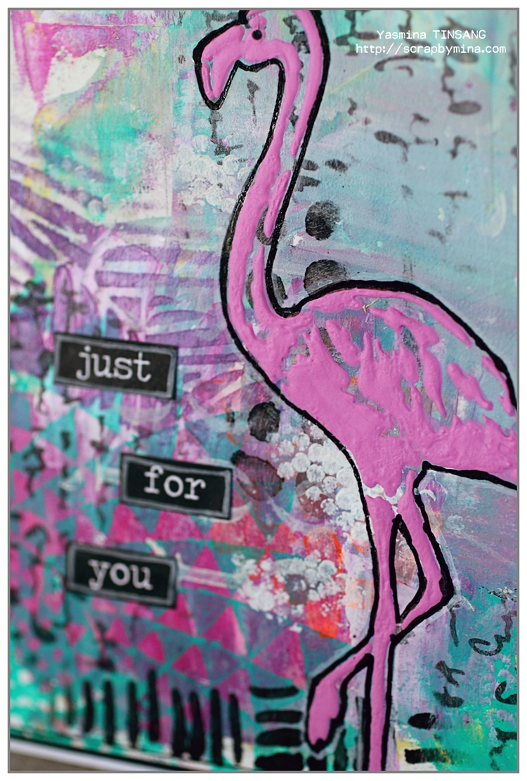 Yasmina's card with the flamingo from the TCW612s Tropical Element