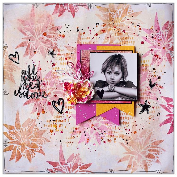 Yasmina TINSANG Stenciled background for a layout