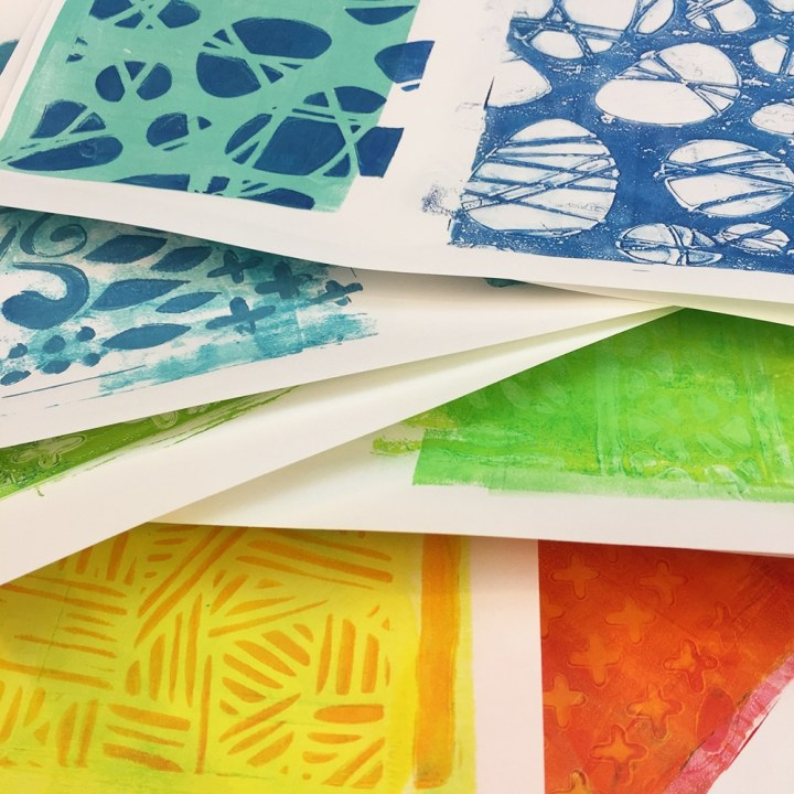 Printed sets of paper in my selected colors with stencil texture