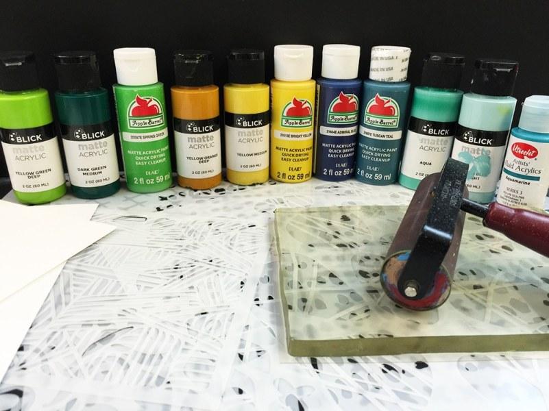 Supplies paint brayer stencil paper