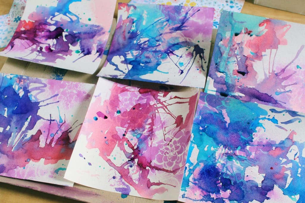 mixedmedia background using stencils and mists