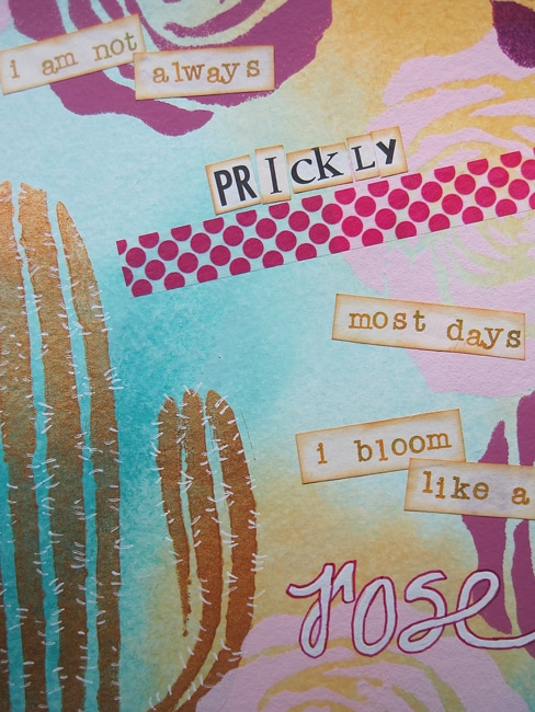Add interest to journal page with message and washi tape LEFKO