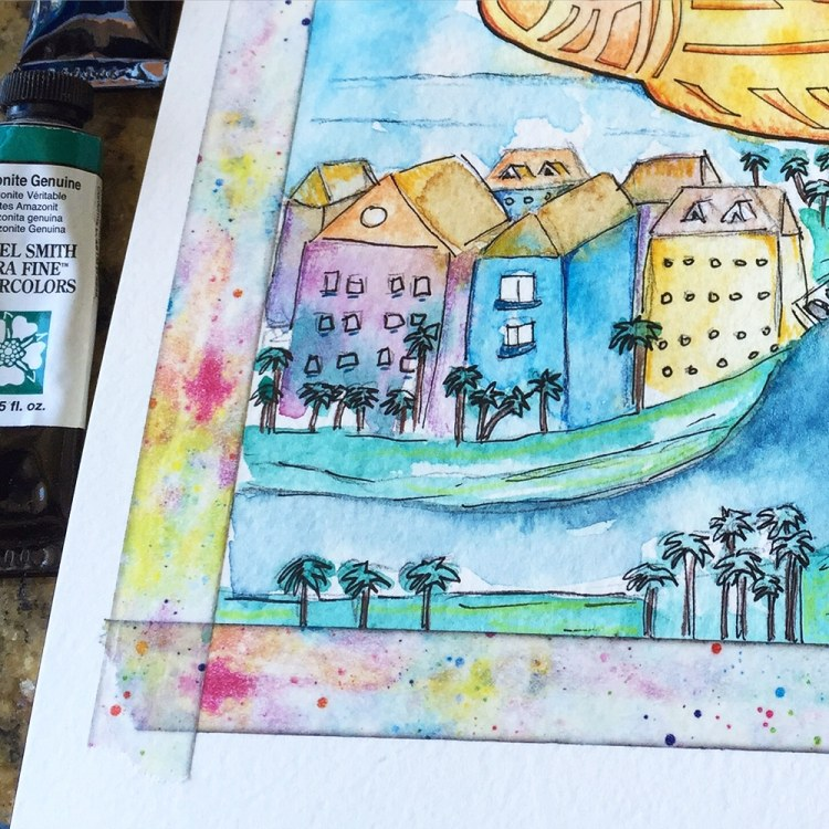 Close up detail shot of the buildings and colored pencil detailing.