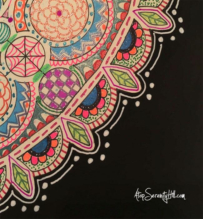 Gel pen mandala using a stencil from The Crafter's Workshop • AtopSerenityHill.com #stencil #mandala #doodling