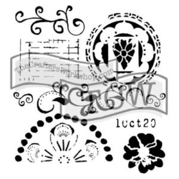 Swirly Cue stencil
