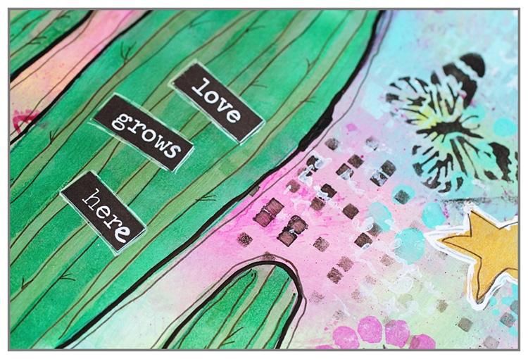 Art Journal spread by Yasmina using new summer 2016 stencils