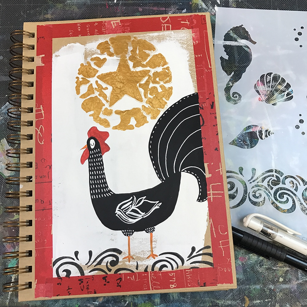 Scroll detail creates a ground for the rooster