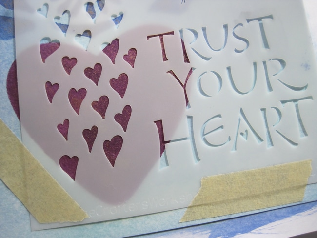 Affix TCW2147 stencil over heart LEFKO