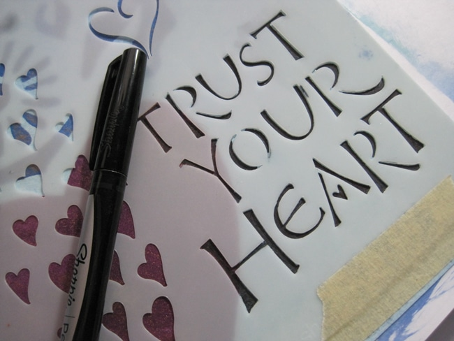 "Fill sentiment ""Trust Your Heart"" with black fine line marker LEFKO"