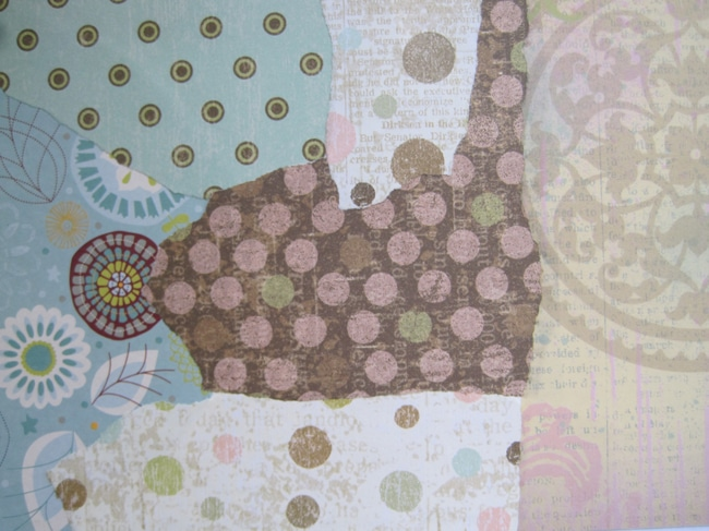 Layer of collaged scrapbook papers LEFKO