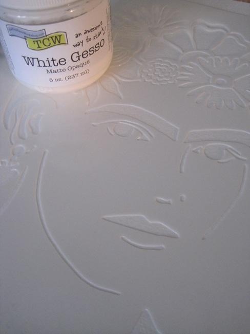 white gesso over TCW645 stencil La Artista LEFKO