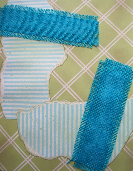 Blue & Ivory Ribbon Stripe paper and blue burlap LEFKO