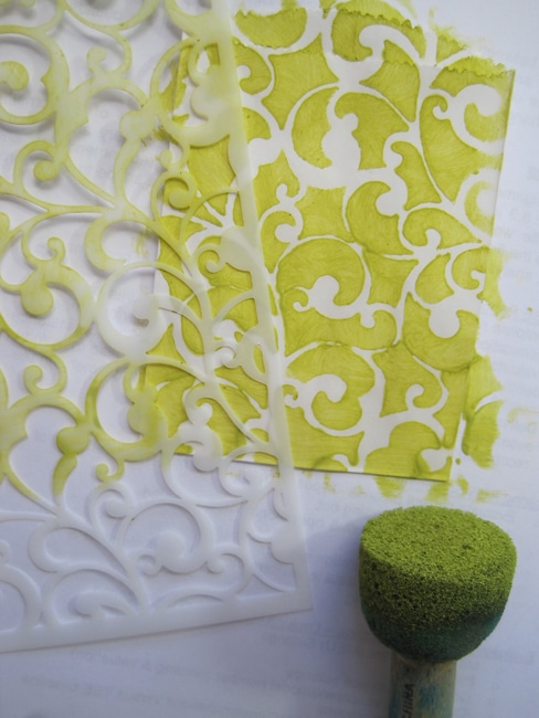TCW Endlss Swirls stencil and citron acrylic paint LEFKO