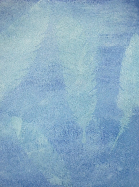 Gesso resist shows feathers in light blue on background LEFKO