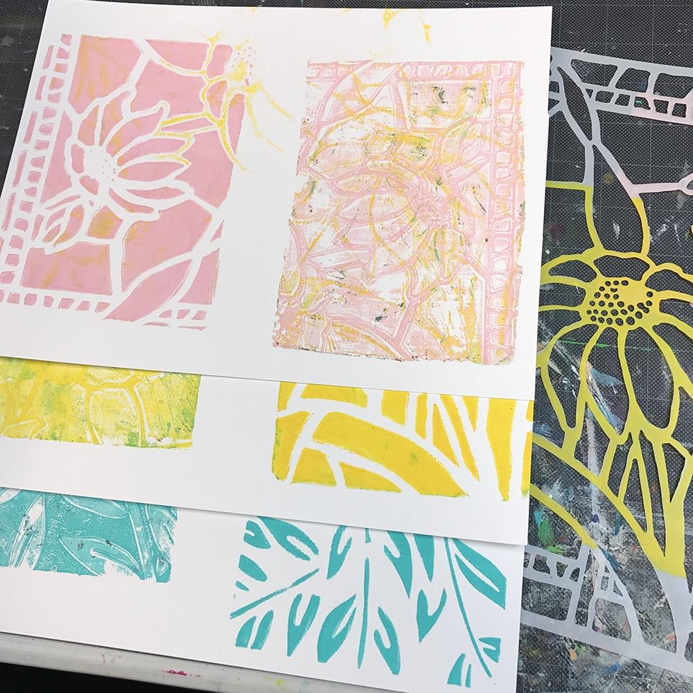 Gelli Printing with Stencils