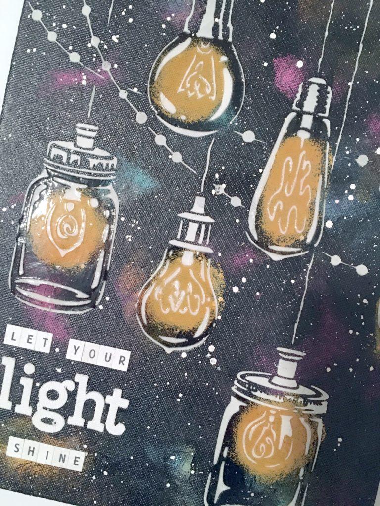 Kim Schofield, Light Shine Canvas, TCW676, Party Lights, Close