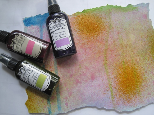 Glimmer mist on watercolor paper LEFKO