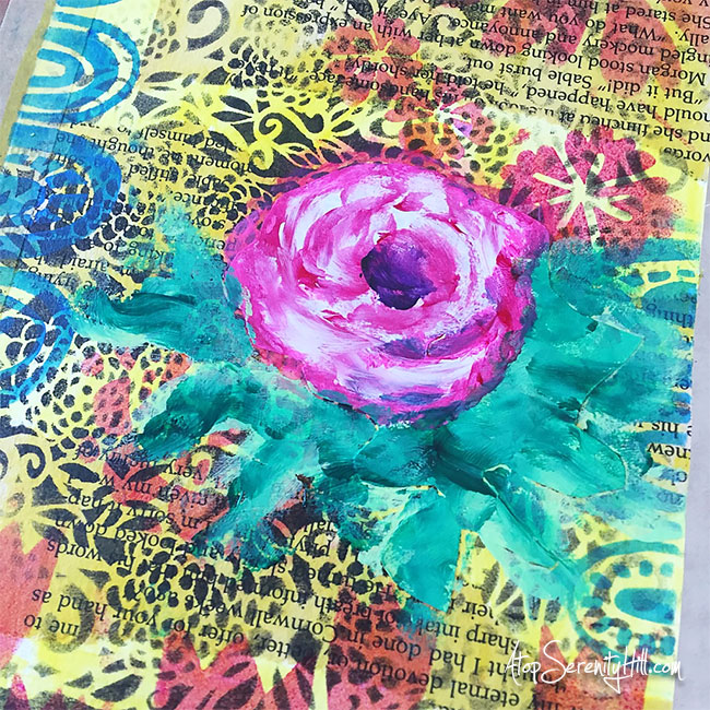 My One Little Word® for 2017 is Flourish. I created an art journal page using stencils from The Crafter's Workshop to reinforce what it means to me. AtopSerenityHill.com
