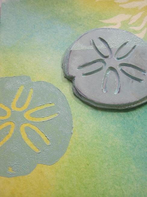 hand carved sand dollar stamp LEFKO