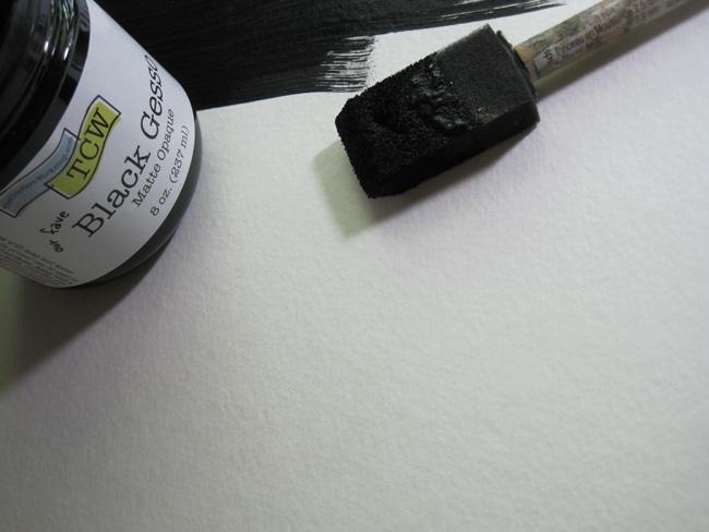 TCW black gesso and foam brush LEFKO