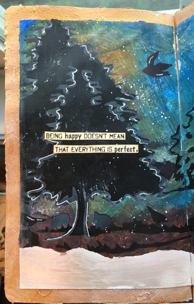 Kim Schofield, Nature Art Journal, Deer in Woods, Left Side