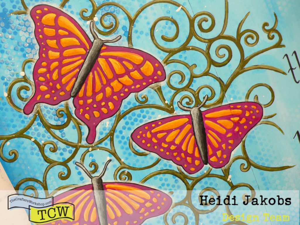 Create a fun art journal page with acrylic paints butterfly stencil and a quote