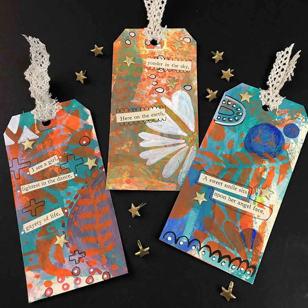 Finished Happy Mail Tags by Artist Tori Weyers