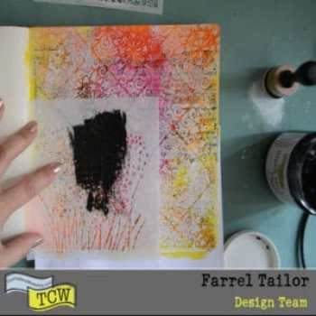 Black modeling paste and onion blossom 6x6 stencil