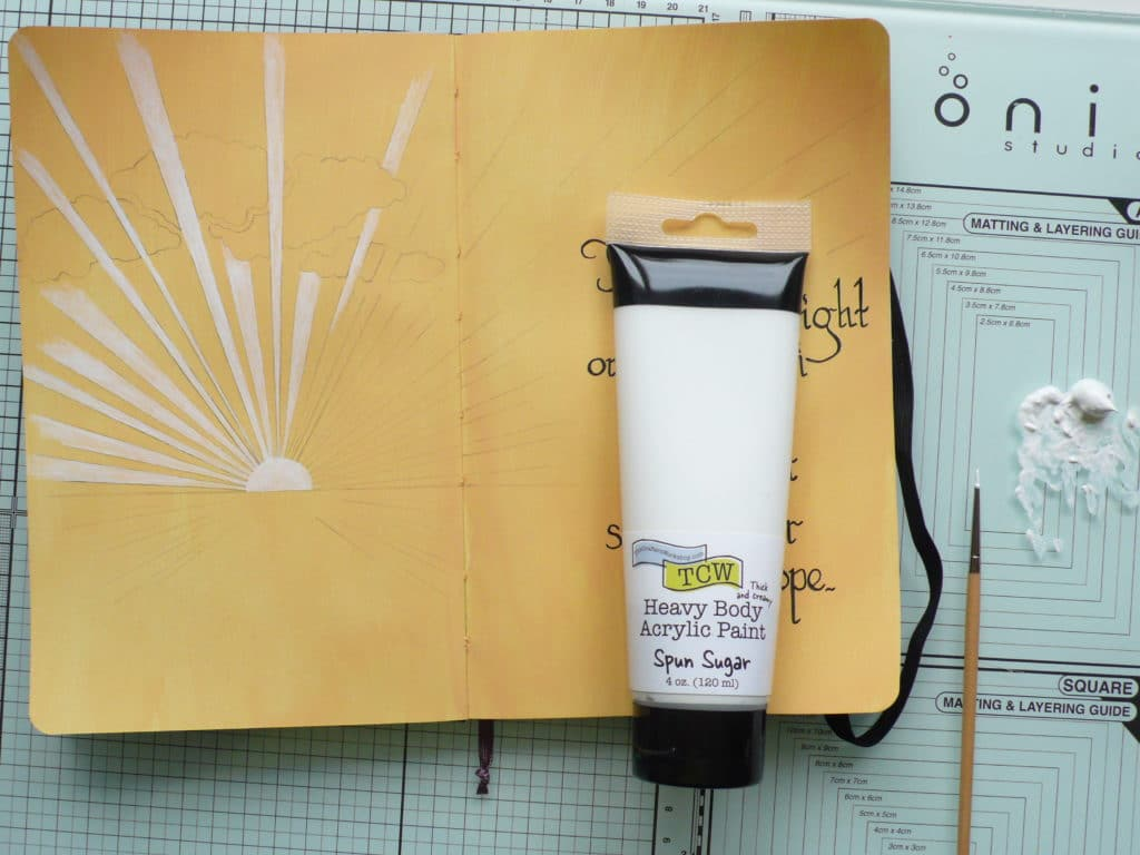 Step by step tutorial on how to create an art journal page using paints and stencils
