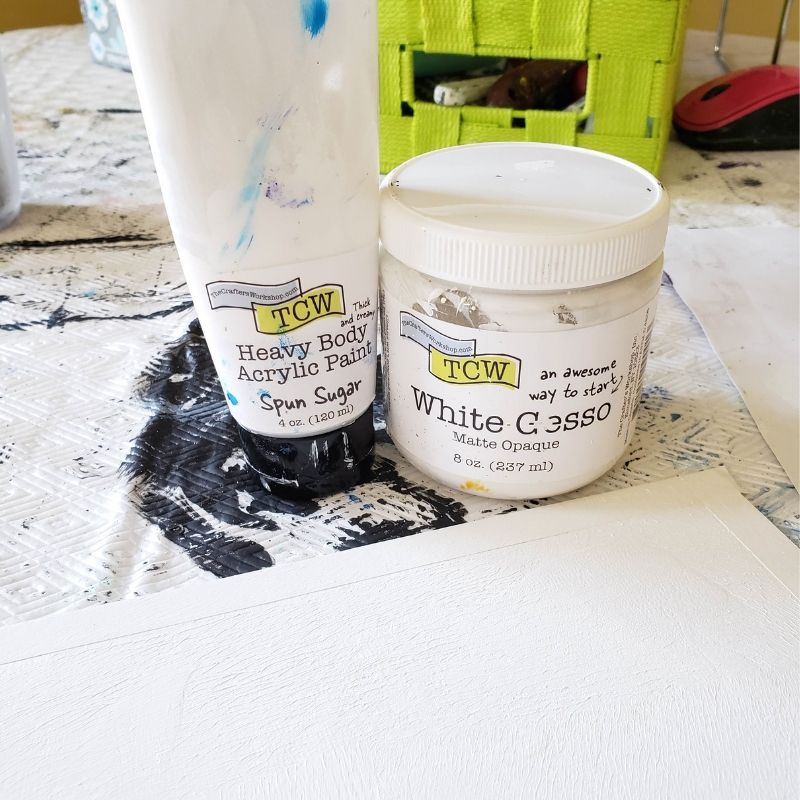 TCW9001 White Gesso and TCW9016 Heavy Body Acrylic Paint on mixed media board