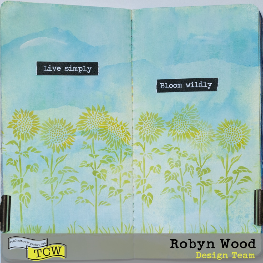The Crafter's Workshop Blog Bloom Wildly with Stencilled Sunflowers by Robyn Wood