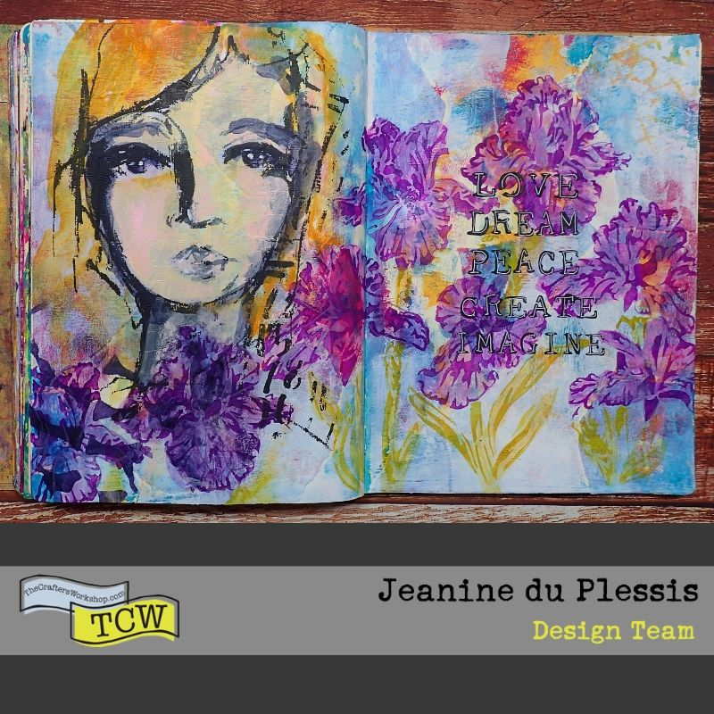 Image of the completed art journal spread showing a girl face, a colorful background and a garden of Irises. #TCW #TCWStencils #Artjournal #mixedmedia #flowers #Irises #face
