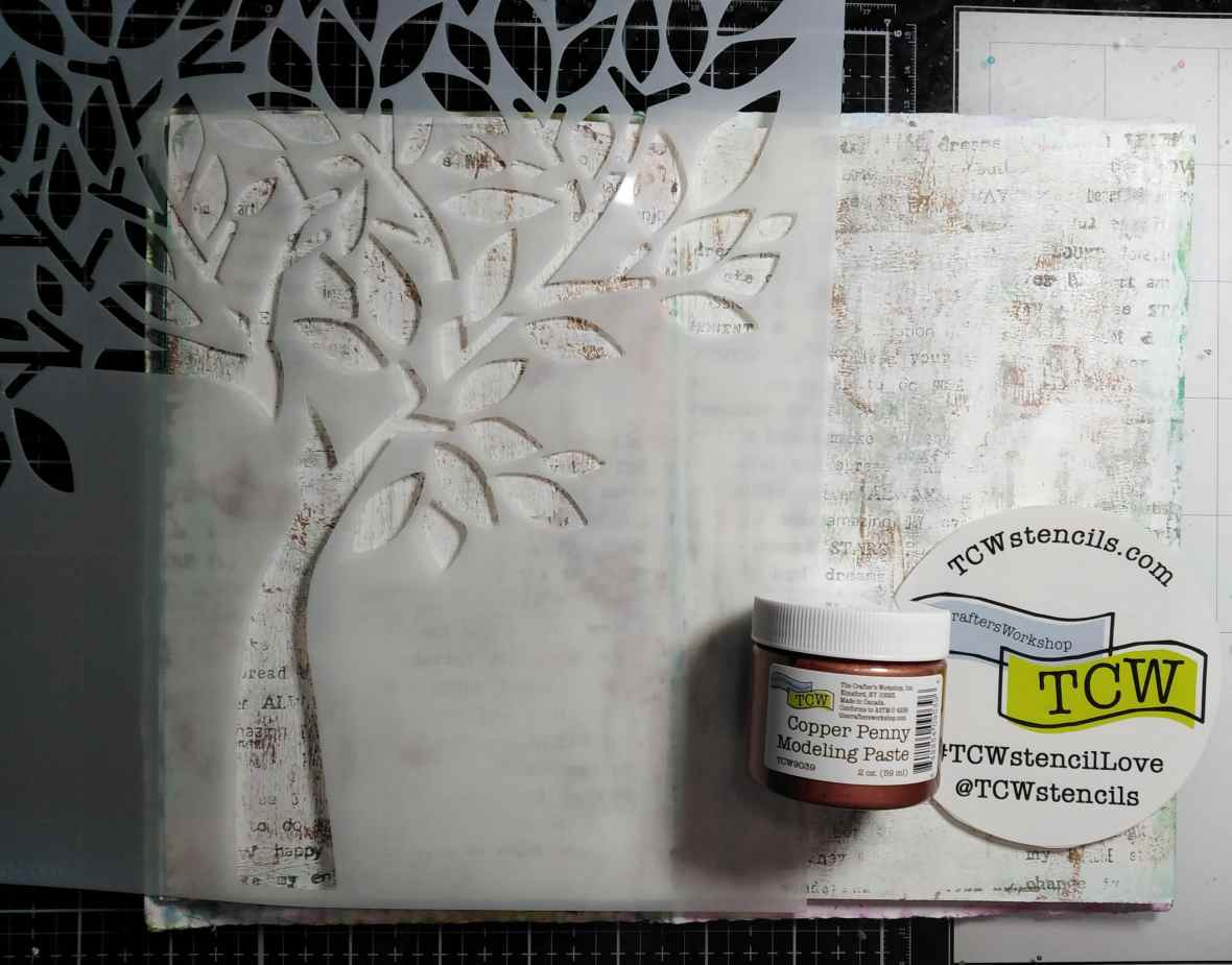 Art journal texture building with The Crafters Workshop Faithful tree stencil and Copper penny modeling paste.