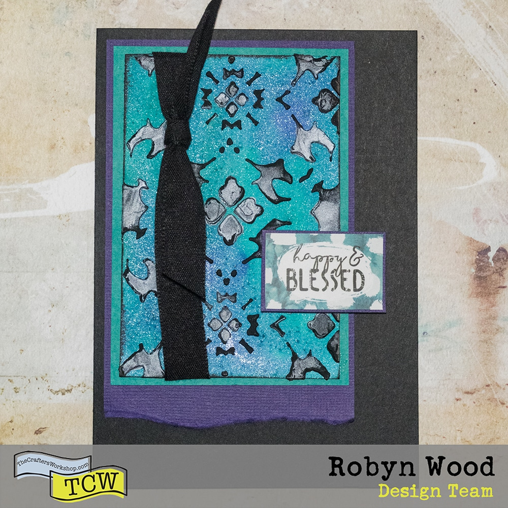 Finished card for The Crafter's Workshop Happy and Blessed - Combining Modeling Pastes for a Different Look by Robyn Wood