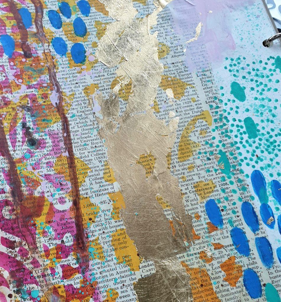 acryllic paint marks and gold leaf background