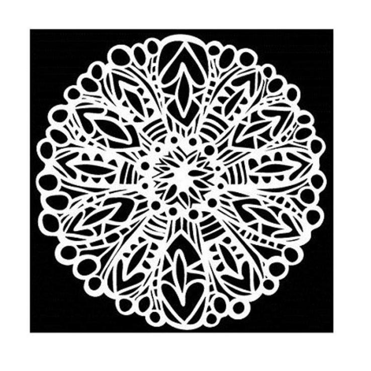 patterned floral stencil in black and white