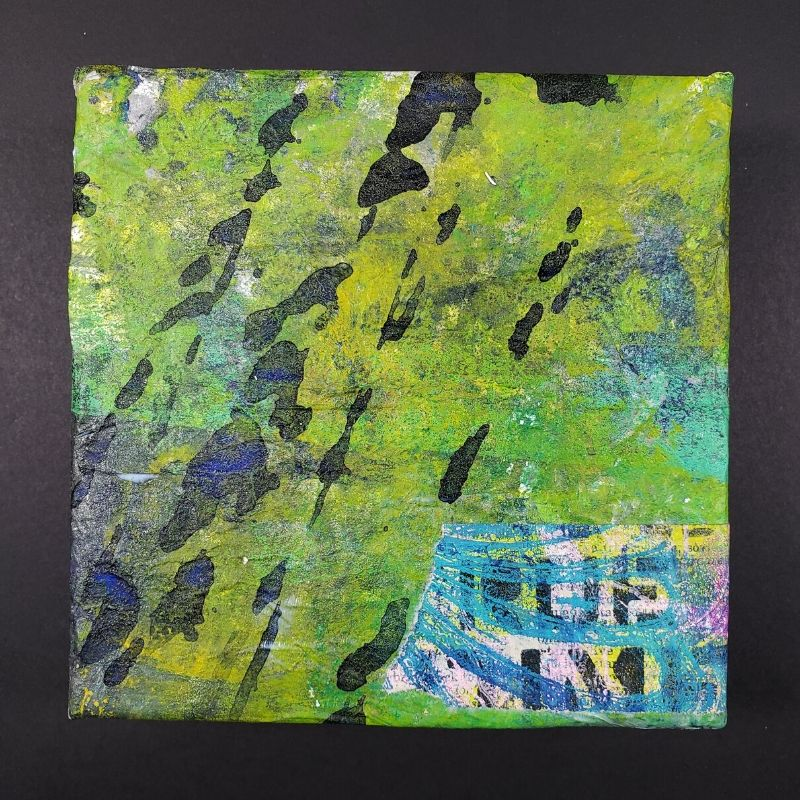 I adhered with TCW Matte Gel Medium painted papers to the 6x6 stretched canvas