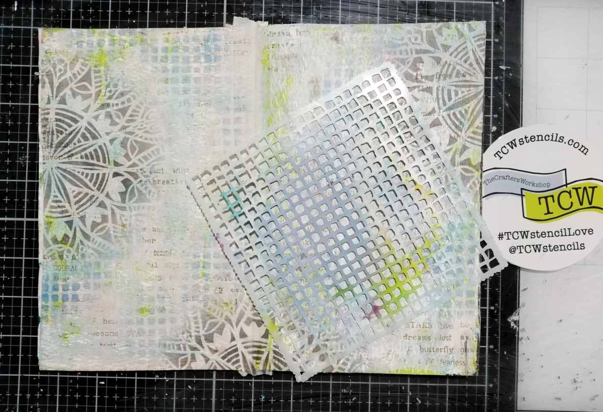 Art journal background stenciling with Distress oxide inks and The Crafter's Workshop stencils