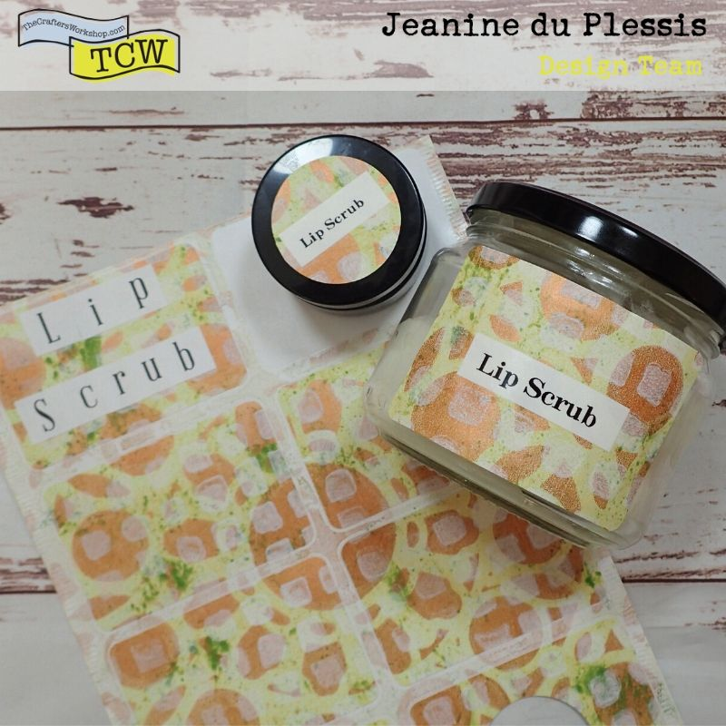 Photo of the label stickers already made, added to some jars. Colors of yellow, green, bronze and white with stenciling patterns